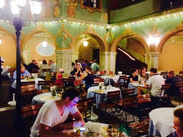 Beer garden in brewery and restaurant Zum Augustiner in Munich Old Town