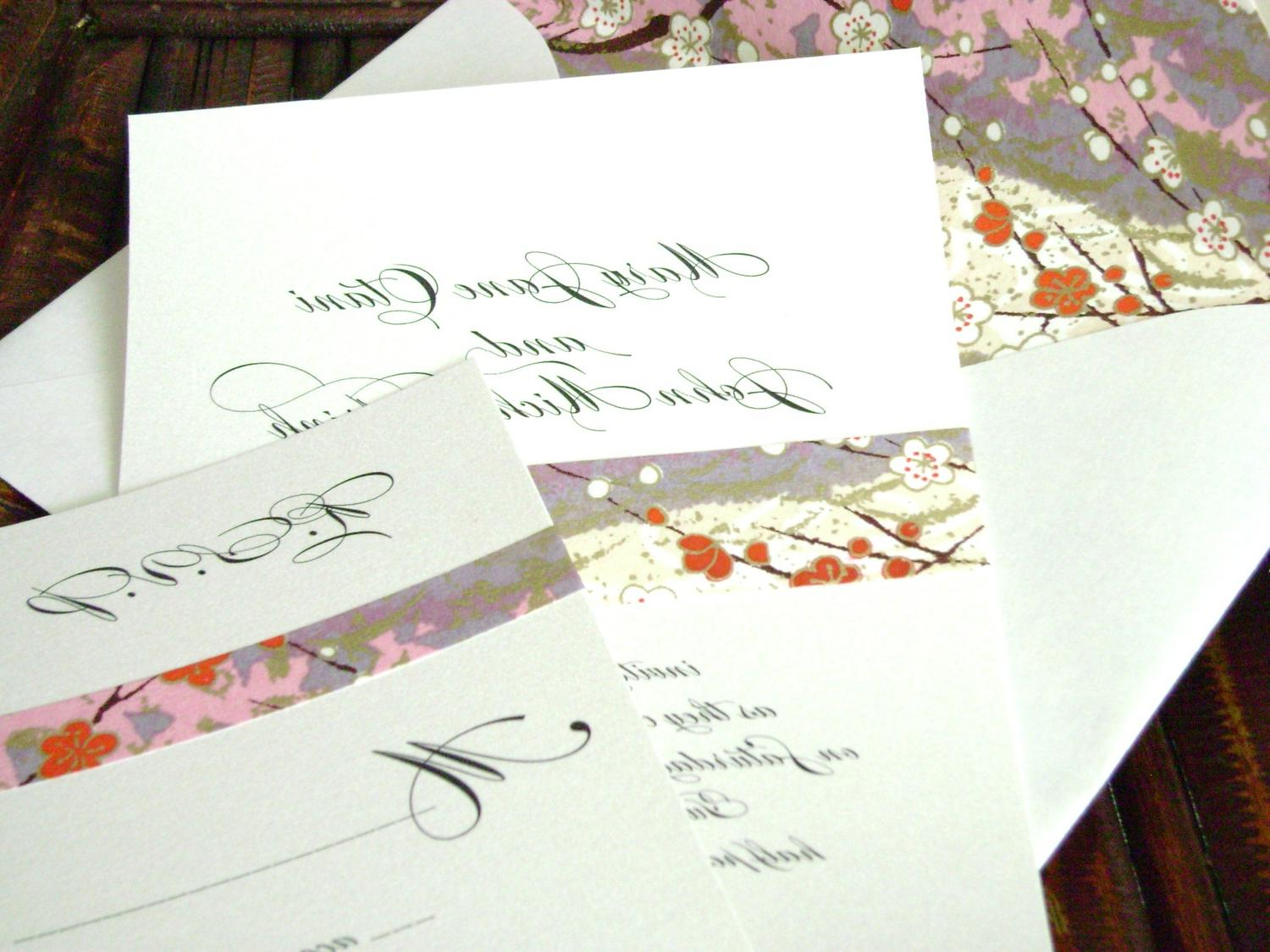 Asian Wedding Invitation with Japanese Paper and Lined Envelope Malia