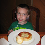 Bryan eating cheese pizza in the Akershus restaurant in Norway in Epcot in Disney 06072011