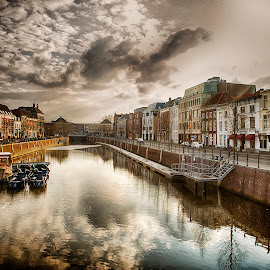view from a bridge by Egon Zitter - City,  Street & Park  Street Scenes ( water, cityview, street, bridge, canal, river, city )