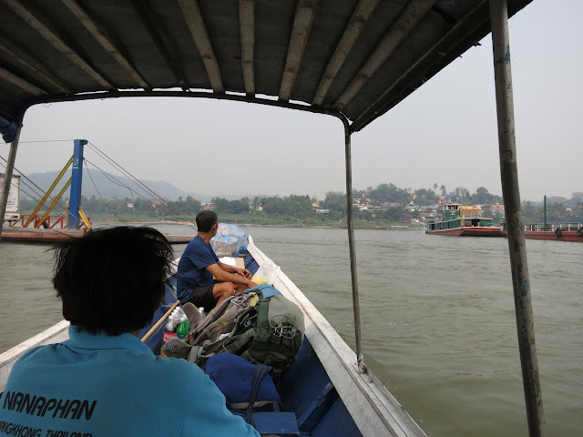 Crossing the Mekong from Thailand to Laos.