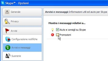 Disattivare pubblicità Skype