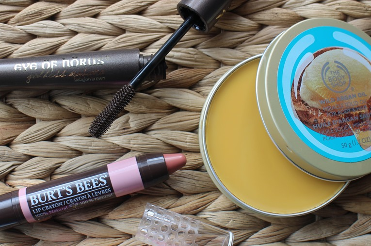 EyeofHorus-Goddess-Mascara,BurtsBees-LipCrayon-Sedona-Sands-Nude,BodyShop-WildArgan-Miracle-Solid-Oil