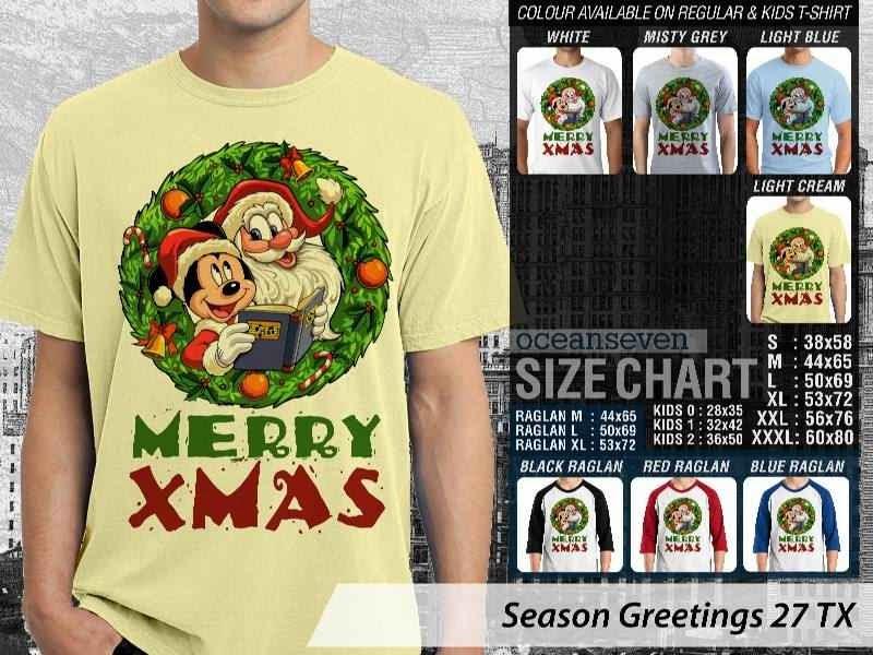 Kaos Natal Season Greetings 27 mickey mouse  distro ocean seven
