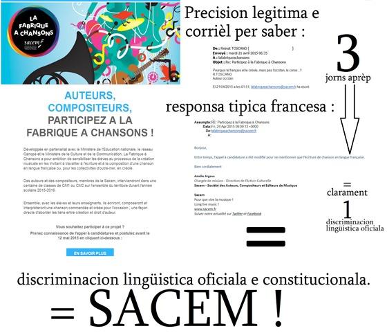 discriminacion lingüistica francesa encara un exemple SACEM