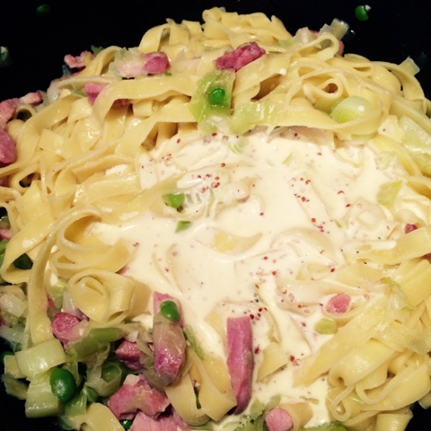 broad bean carbonara pasta