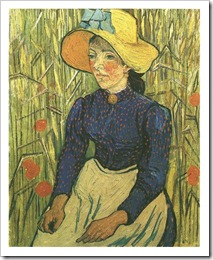 Young-Peasant-Woman-with-Straw-Hat-Sitting-in-the-Wheat