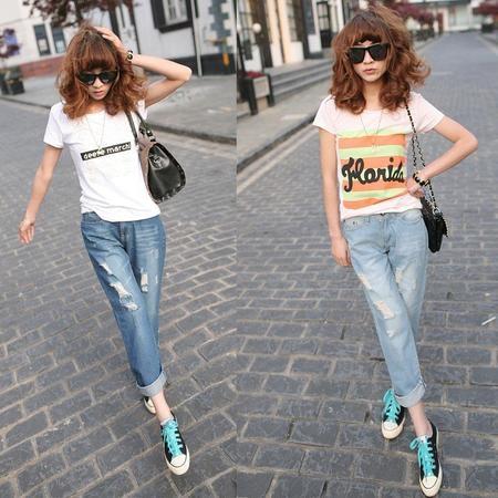 ao dang rong phong cach menswear jeans rach