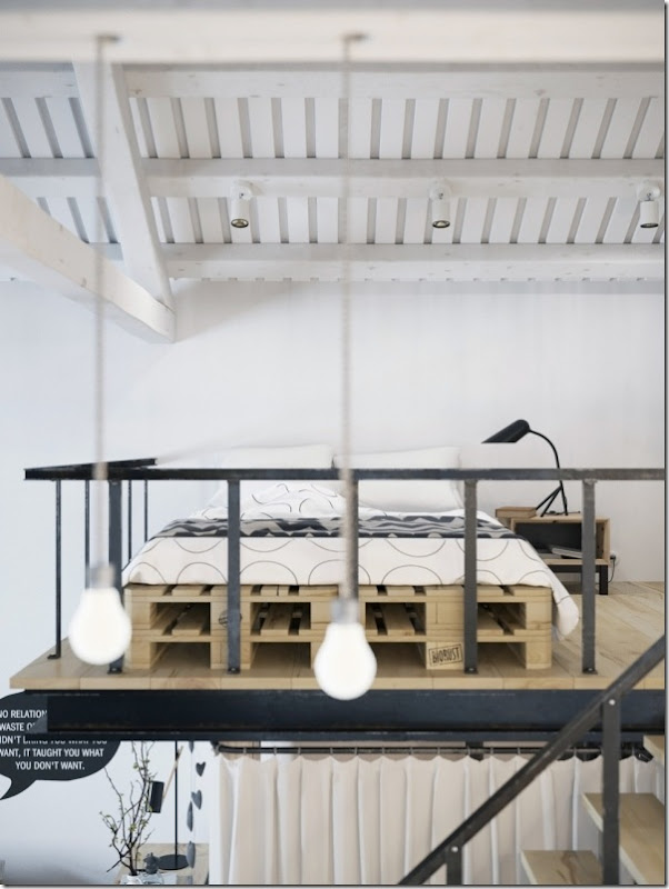 case e inetrni - mini loft praga - stile scandinavo (10)