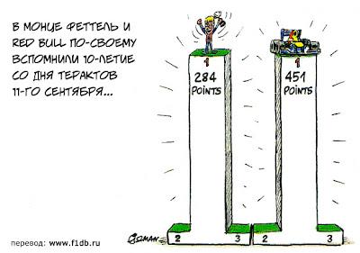 Себастьян Феттель и Red Bull на подиуме намного выше всех остальных на Гран-при Италии 2011 - комикс Fiszman