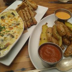 Artichoke dip with GF bread & Fingerling potato appetizers