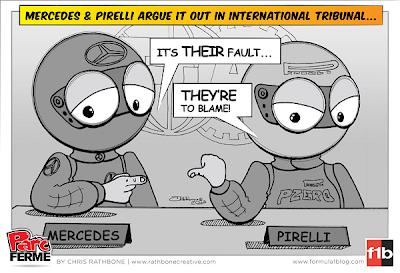 Mercedes и Pirelli спорят на международном трибунале FIA - комикс Chris Rathbone
