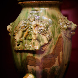 Museum Piece by Leah Zisserson - Artistic Objects Antiques ( urn, green and brown, pottery, virginia, museum, antique )