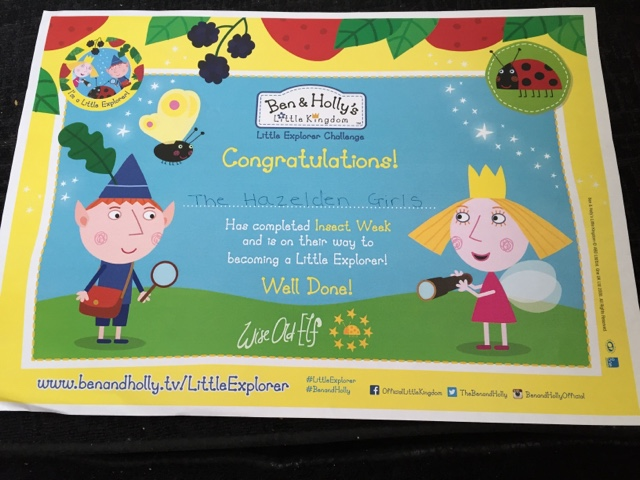 ben and holly little explorer certificate
