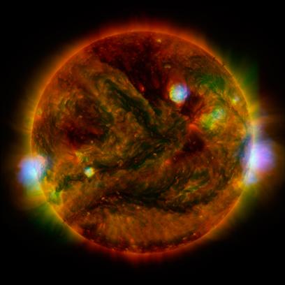 emissão de raios X e luz ultravioleta pelo Sol