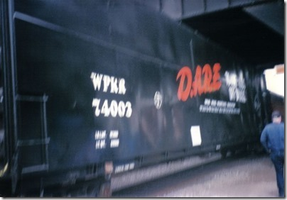 Willamette & Pacific Woodchip Gondola #74003 at Union Station in Portland, Oregon on May 11, 1996