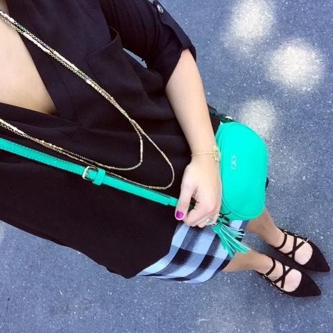 strappy flats, plaid mini skirt, tassel crossbody bag