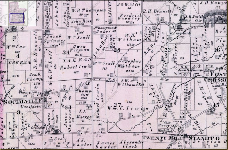 Irwin map of land in Deerfield Twp, Warren Co, Ohio 1875
