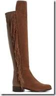 Dune fringed brown suede over the knee boot