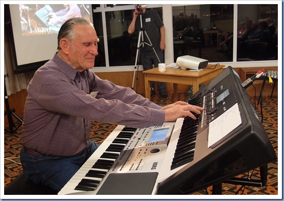 Our guest artist for the night, Roy Steen, shown here setting-up his Korg Pa80 and (on the top) his Korg Pa300. Photo courtesy of Dennis Lyons.