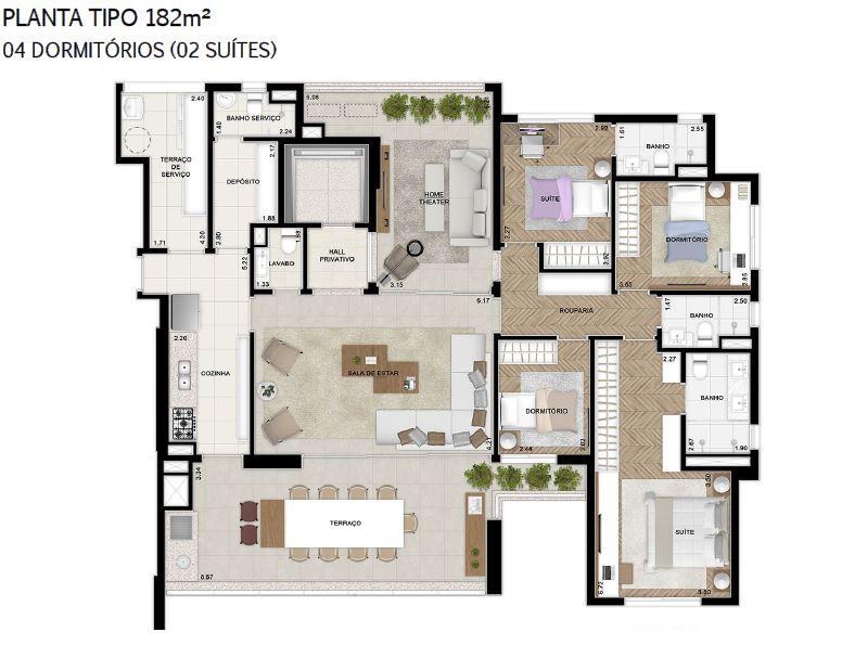 Plana 182 m² do 2 ao 18 Pavimento Finais 1 e 2