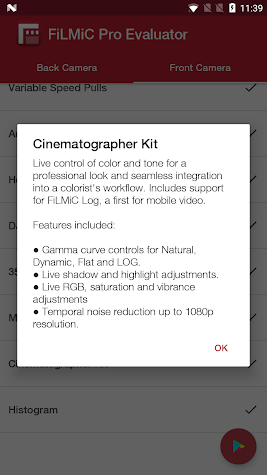 FiLMiC Pro Evaluator Screenshot