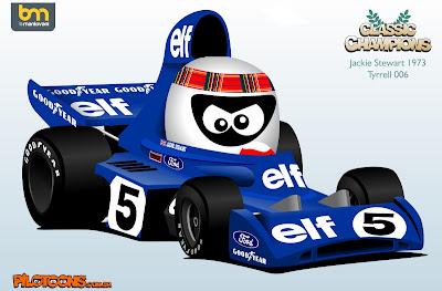 pilotoons Джеки Стюарт 1973 Tyrrell 006