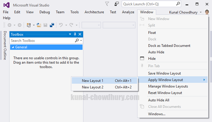 Visual Studio 2015 Tips & Tricks - How to apply a Visual Studio layout (www.kunal-chowdhury.com)