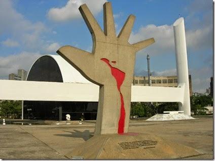 Monumento en el Memorial de América Latina, de Oscar Niemeyer