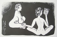 Dej BAO. 031 . Un Chemin dans la Pierre . 1977 .Lithographie . 36,5 x 55cm