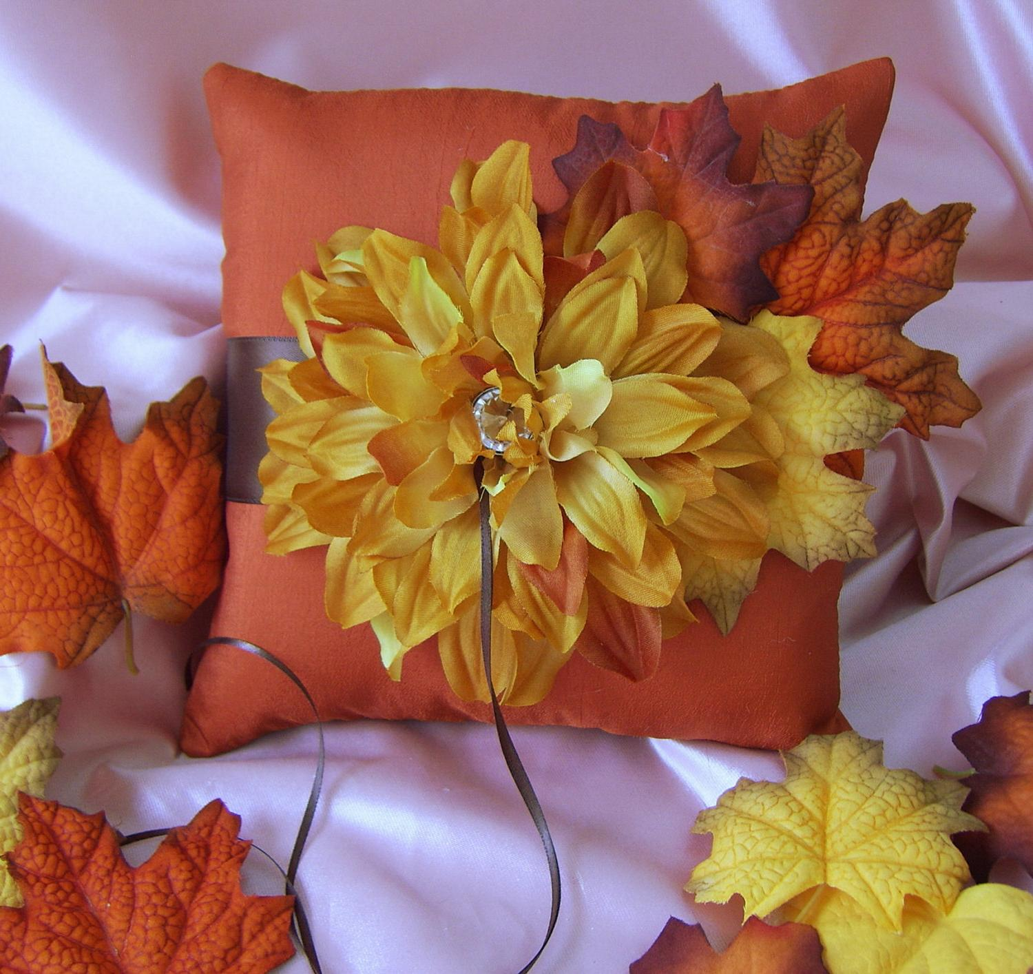 Fall Wedding Accessories : Chocolate Brown and Persimmon Ring Bearer Pillow,