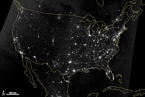 The Suomi NPP satellite acquired two nighttime images early on October 1, 2013, for this natural-light, mosaic view (top) of the continental United States. (NOAA)