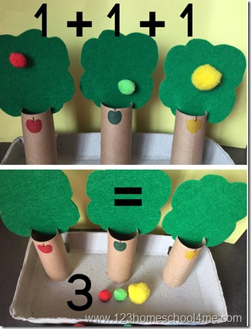 counting apple activity for preschool