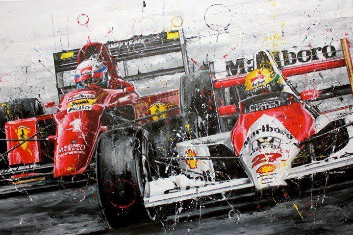 Айртон Сенна на McLaren и Алан Прост на Ferrari - картина Art Rotondo