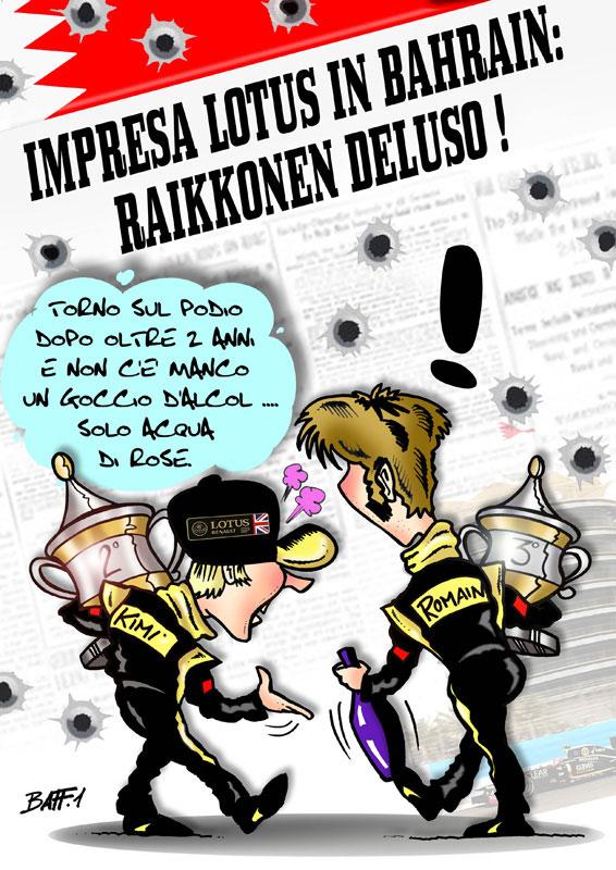 Кими Райкконен и Ромэн Грожан обсуждают итоги гонки на Гран-при Бахрейна 2012 - комикс Baffi