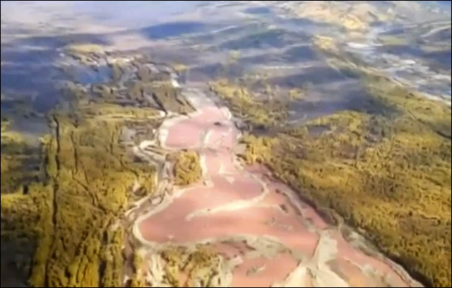 Aerial view of river pollution from a gold mine in Siberia. Residents in the TransBaikal district of Mogochinsky reported the 'unnatural' colour of the Itaka River, prompting a full-scale health alert. Photo: Zab TV / The Siberian Times