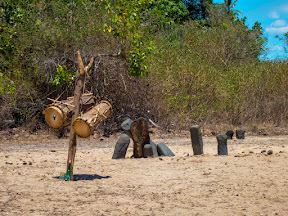 The ancestral drums, the rum for anointing them, and the sacred stones – in our village on Nosy Mitsio.