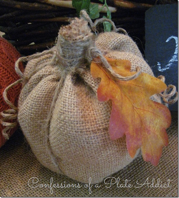 CONFESSIONS OF A PLATE ADDICT DIY Fabric Pumpkin Centerpiece