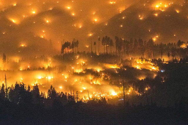 A long exposure image shows the El Portal Fire burning near Yosemite National Park, California in late July 2014. On the morning of July 28, the fire had burned more than 2,500 acres and was just five percent contained. More than 400 firefighters and several helicopters battled the flames. Photo: Stuart Palley / EPA