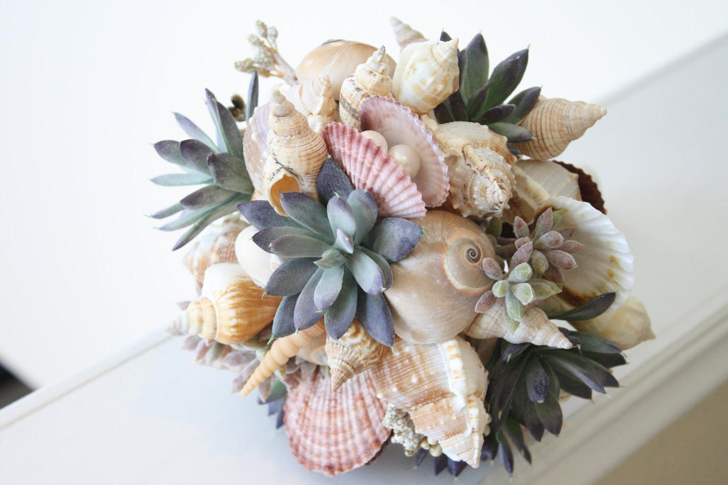 MERMAIDS DELIGHT.beach wedding bouquet and boutonniere set shell and