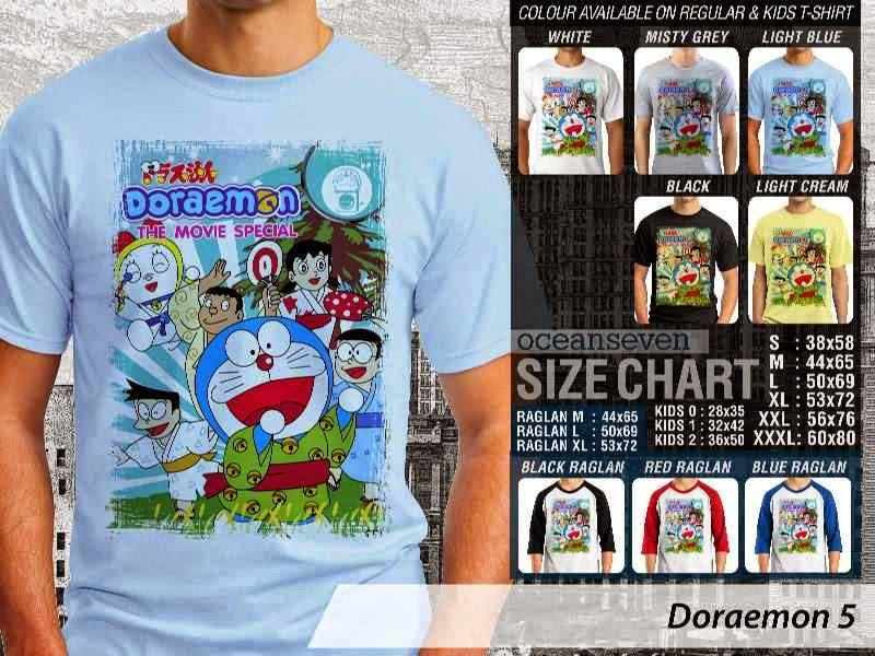 KAOS Doraemon 5 Manga Lucu distro ocean seven