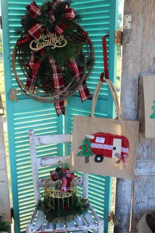 plaid rope Christmas wreath, Christmas Glamper tote, gold bird cage centerpiece