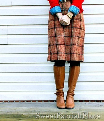 plaid tweed skirt tall boots