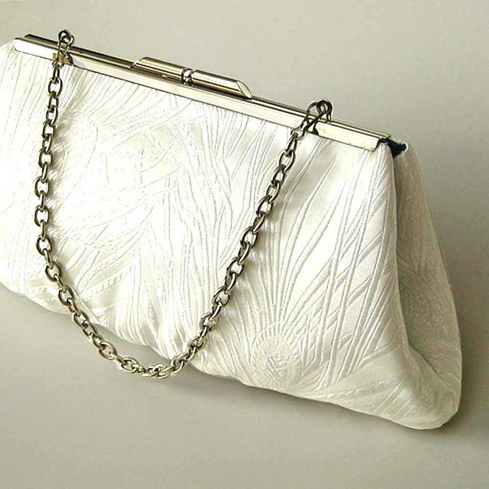 Wedding Purse Ivory Peacock Motif - Ready to Ship. From Upstyle