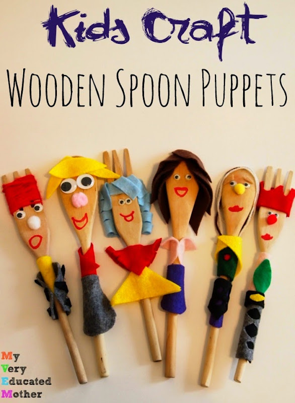 Kids craft wooden spoon puppets - Cheap wooden spoons for craft ...
