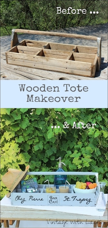 Wooden Tote Makeover - Before and After by Vintage with Laces
