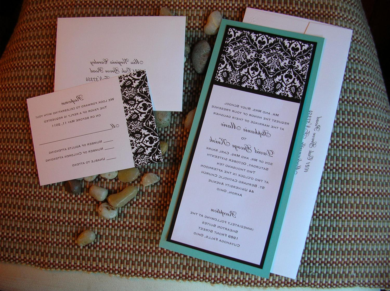 White and Tiffany Blue   Pool Blue Damask Wedding Invitation - Sample