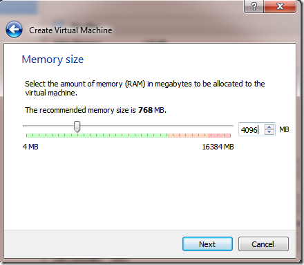 Create VM Machine Memory Size