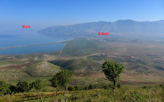 A view from the surrounding mountains towards Orikum. Vlore can be seen in the far left.