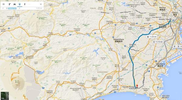 Tokyo to Fijisawa Map